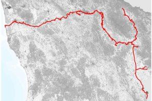 Il tracciato della ciclopista dell'Arno (Regione Toscana)