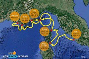Itinerario della campagna Stop Plastic in the Sea 2018