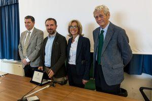 Sa sinistra Marco Raugi, Marcello Mele, Alessandra Gemmiti e Umberto Ascani. (Foto da Università di Pisa).