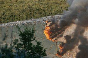 Incendio della discarica di Serravalle, Pistoia (foto Regione Toscana)