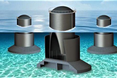 Cassoni semisommersi contenenti colonne d'acqua risonanti, con un generatore a elastomero dielettrico. (Rendering da Scuola Sant'Anna).