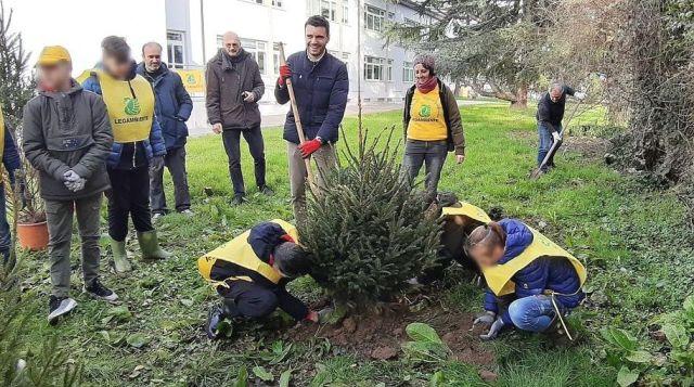 I ragazzi della scuola media di Lammari piantano gli alberi nel giardino della scuola. Al centro l'assessore all'Ambiente Giordano Del Chiaro