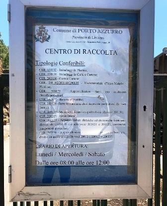 Centro raccolta rifiuti Porto Azzurro_cartello