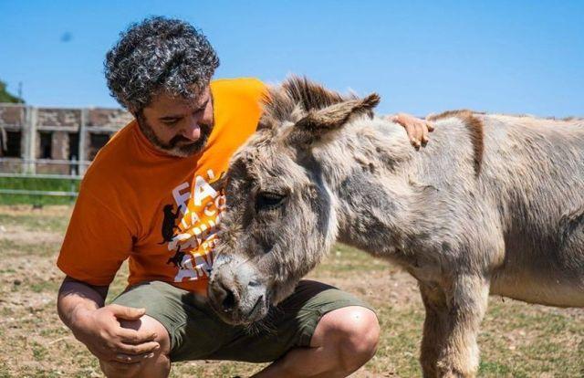 Un volontario LAV con uno degli animali presenti sull'isola