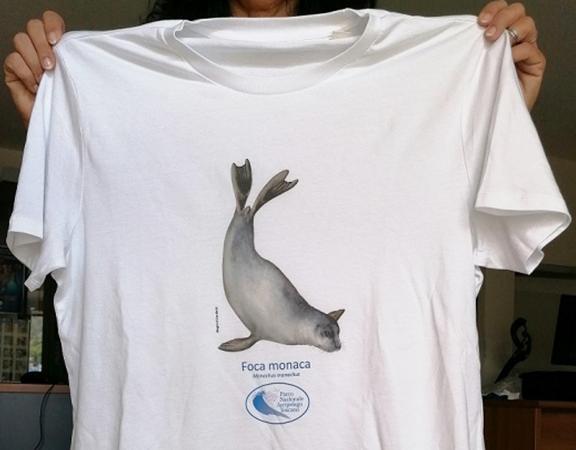 Una maglietta la celebra il ritorno della foca monaca nei mari di Toscana.